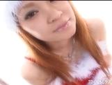 Ren Aizawa Costumed Asian babe In Santa Suit Gets Cum