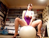 Busty Japanese babe Koyomi Yukihira in leotard sucking a cock like a pro
