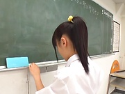 Teacher gets to fuck all schoolgirls while in class