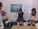Naughty threesome on cam with Yui Saotome and  Moa Hoshizora picture 12