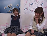 Naughty threesome on cam with Yui Saotome and  Moa Hoshizora picture 13