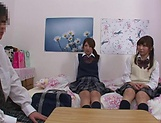 Naughty threesome on cam with Yui Saotome and  Moa Hoshizora picture 14