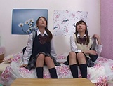 Naughty threesome on cam with Yui Saotome and  Moa Hoshizora picture 1