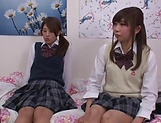 Naughty threesome on cam with Yui Saotome and  Moa Hoshizora picture 4