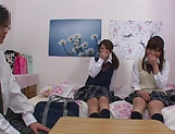 Naughty threesome on cam with Yui Saotome and  Moa Hoshizora picture 5