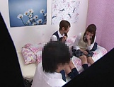 Naughty threesome on cam with Yui Saotome and  Moa Hoshizora picture 6