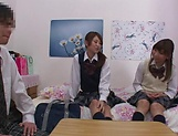Naughty threesome on cam with Yui Saotome and  Moa Hoshizora picture 7