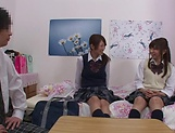 Naughty threesome on cam with Yui Saotome and  Moa Hoshizora picture 8