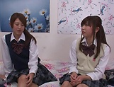 Naughty threesome on cam with Yui Saotome and  Moa Hoshizora picture 9