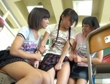 Nude Asian schoolgirls Yuri Shinomiya and her friends enjoys hard dicks picture 13