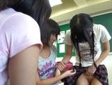 Nude Asian schoolgirls Yuri Shinomiya and her friends enjoys hard dicks