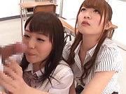 Alluring schoolgirls enjoying a wild threesome