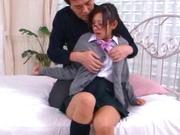 Japanese AV model is a schoolgirl fucked hard and jizzed on