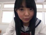 Petite Asian schoolgirl in white panties sucks and rides rod picture 13