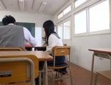 Petite Asian schoolgirl in white panties sucks and rides rod