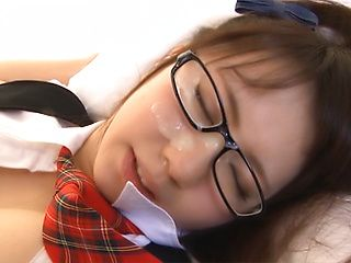 Cum on face for satisfied Japanese schoolgirl