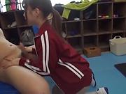 Hagesawa Rui in threesome blowjob scene indoors