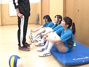 Sexy Japanese models enjoy resting after hot sex
