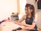 Schoolgirl in sexy swimsuit Sarii Aisahara does a hand job and sucks cock picture 11