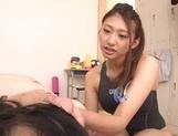 Schoolgirl in sexy swimsuit Sarii Aisahara does a hand job and sucks cock