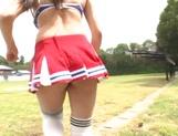 Japanese cheerleader Airi Satou gets hardcore facial at outdoor picture 14