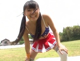 Japanese cheerleader Airi Satou gets hardcore facial at outdoor picture 15