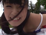 Japanese cheerleader Airi Satou gets hardcore facial at outdoor