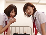 Big tit schoolgirls blows wood hard in a wild duo picture 15