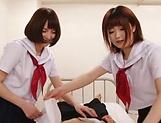 Big tit schoolgirls blows wood hard in a wild duo