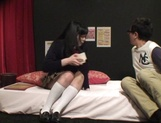 Japanese schoolgirl has her pussy nailed