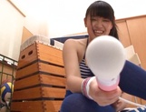 Amateur Asian teen Airi Satou gets toy pleasure in the locker room picture 11