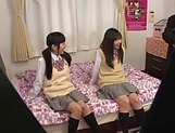 Yui Saotome, and Moa Hoshizora in nasty threesome fucking picture 1