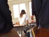 Skillful Japanese schoolgirl Mao Andoh deepthroats her classmates picture 11