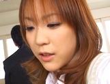 Skillful Japanese schoolgirl Mao Andoh deepthroats her classmates