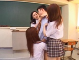 Schoolgirls fucked by hot teacher and made to swallow picture 11