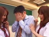 Schoolgirls fucked by hot teacher and made to swallow picture 8