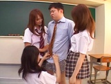 Schoolgirls fucked by hot teacher and made to swallow picture 9