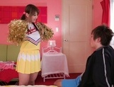 Frisky Japanese cheerleader with nice ass Yui Hasebe likes cock in mouth