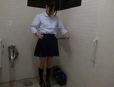 Asian teen Miu Mizuno loves to suck cock in the toilet picture 6