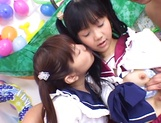 Foursome action with two sleazy Asian schoolgirls picture 10