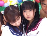 Foursome action with two sleazy Asian schoolgirls picture 3