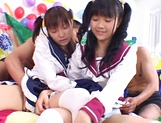 Foursome action with two sleazy Asian schoolgirls picture 4
