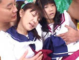 Foursome action with two sleazy Asian schoolgirls picture 6