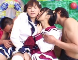 Foursome action with two sleazy Asian schoolgirls picture 8