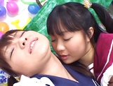 Foursome action with two sleazy Asian schoolgirls picture 9