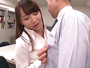 Gorgeous office girl sucks her boss' cock good