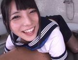 Horny Asian gal Ai Uehara gives a footjob and bounces on rod picture 6