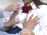 Insolent Japanese schoolgirl tries cock in her vag picture 14