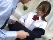Insolent Japanese schoolgirl tries cock in her vag