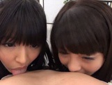 Juicy Asian schoolgirls with round asses share one big cock picture 13